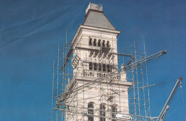 Tower staging during work on the Savannah County Courthouse