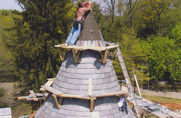Tower staging during slate roof installation